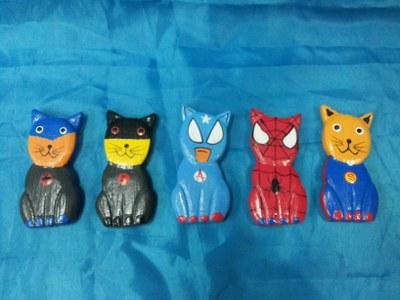 Cat superhero magnet set 5<br>TW0398